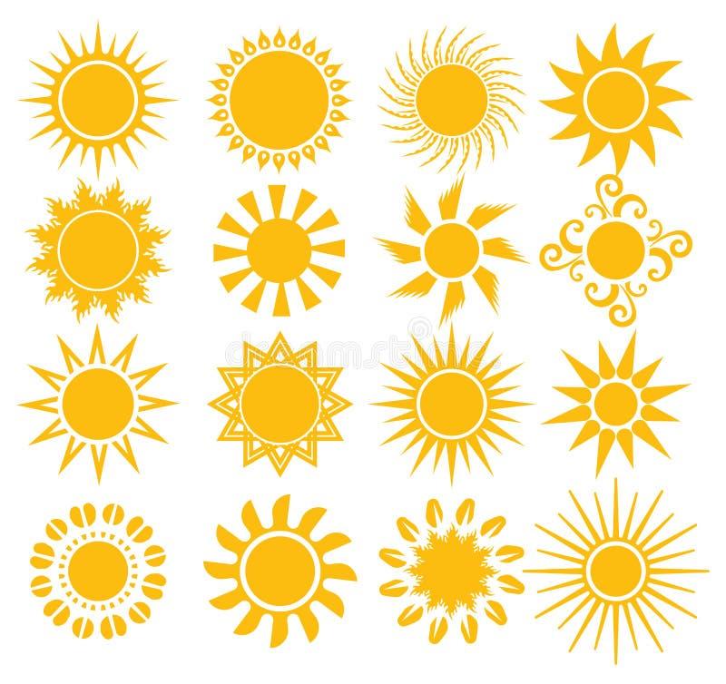 Słońca - elementy dla projekta ilustracji