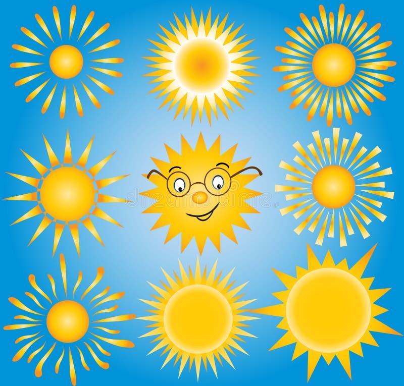 Słońca - elementy dla projekta (ustawiającego wektorowi słońca, royalty ilustracja
