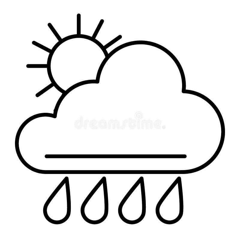 Słońca i deszczu cienka kreskowa ikona Pogodowa wektorowa ilustracja odizolowywająca na bielu Meteorologia konturu stylu projekt, ilustracji