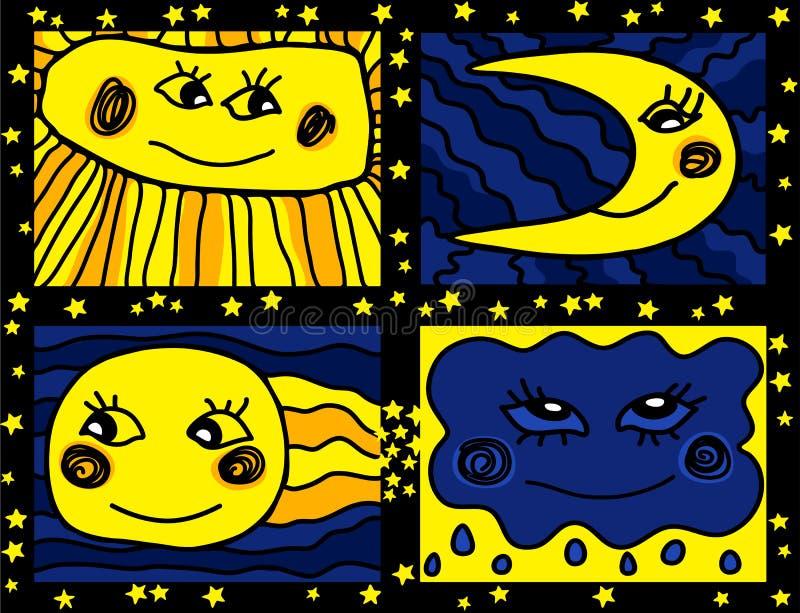 Słońca i księżyc doodle wzór ilustracji