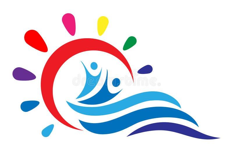 Słońca i morza fala i zdrowi ludzie, aktywny ciało logo na białym tle royalty ilustracja