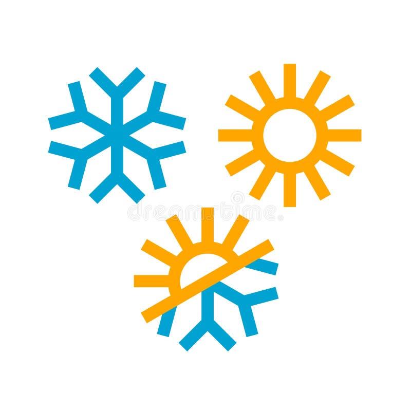 Słońca i płatek śniegu ikony ilustracja wektor