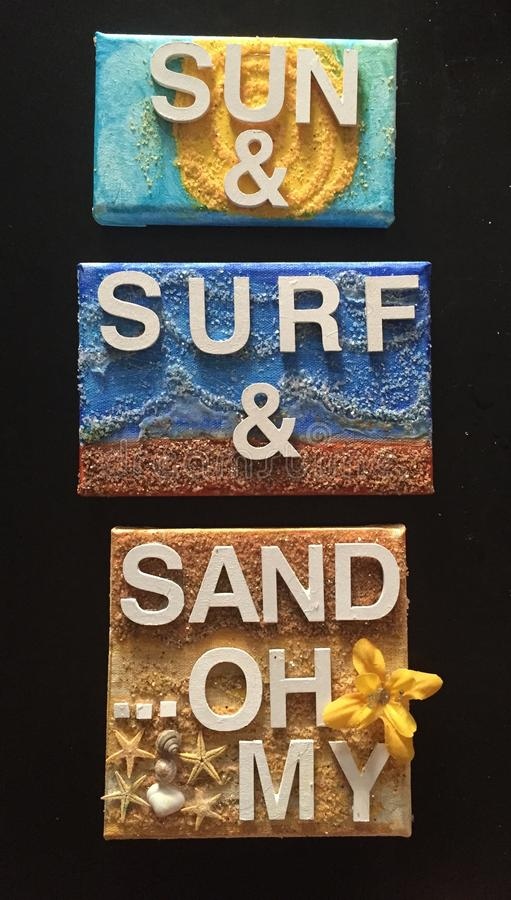 Słońca, kipieli & piaska Ścienny obwieszenie, zdjęcie royalty free