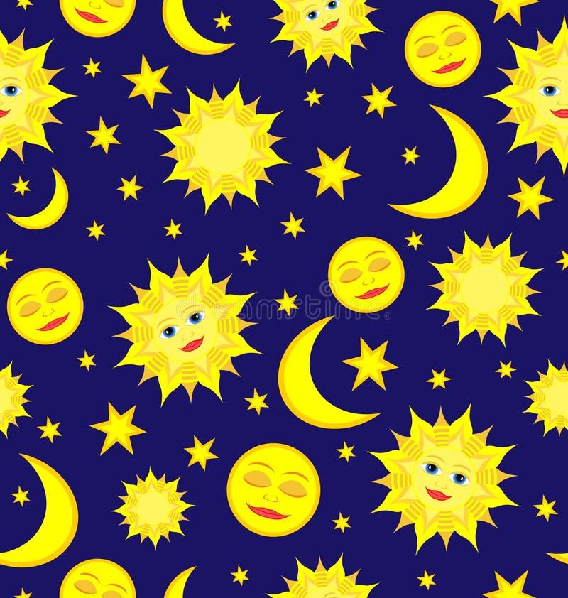 Słońca, księżyc i gwiazd Niebiański Bezszwowy Deseniowy Wektorowy backgroun, ilustracji