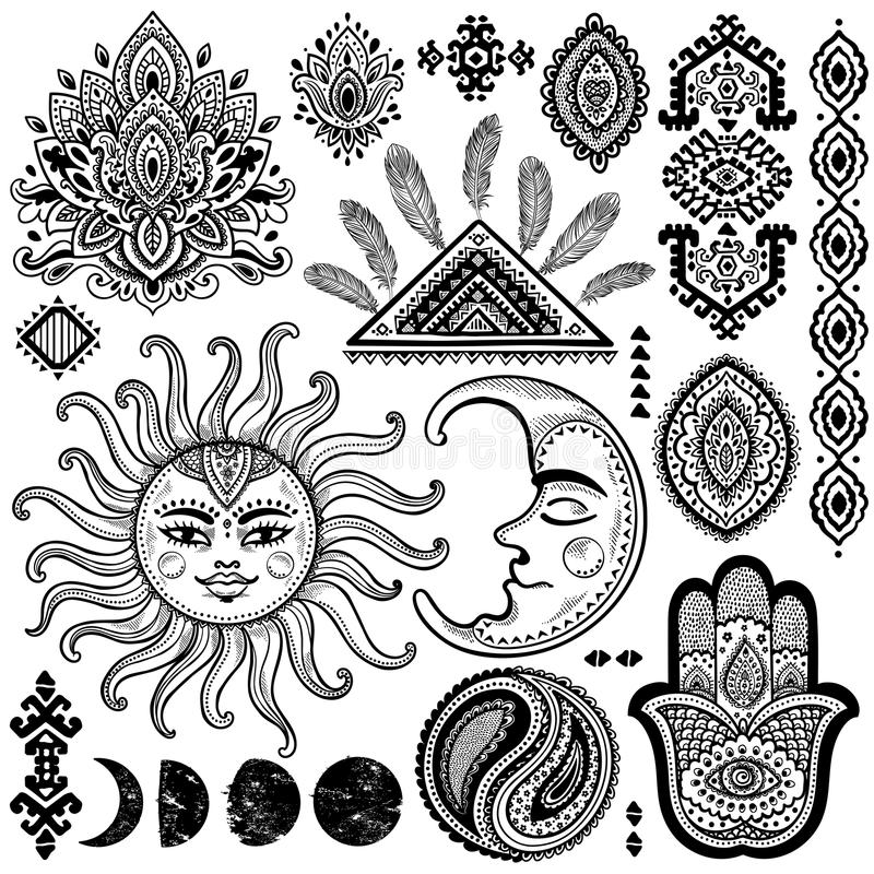 Słońca, księżyc i ornamentów rocznika wektoru set, ilustracja wektor
