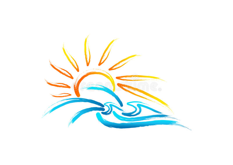 Słońca morza fala logo, rocznika lata symbol, retro dzikiej natury pojęcia morski projekt royalty ilustracja