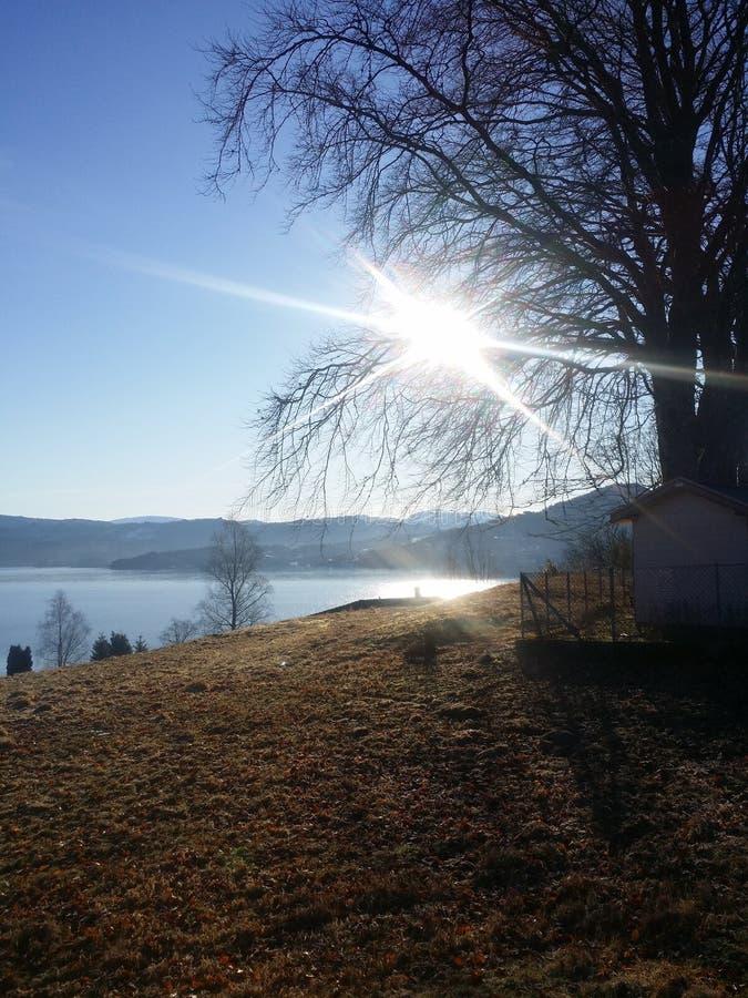 Słońca Norway fjords fotografia royalty free