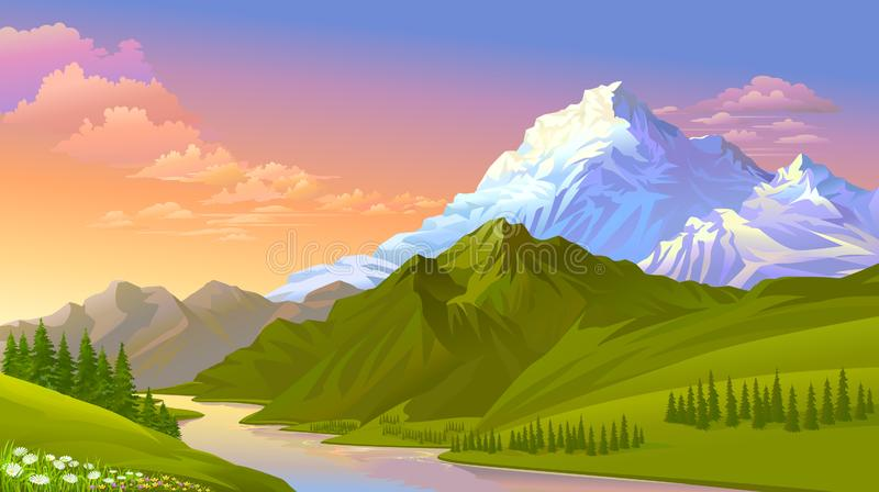 Słońca położenie na lodowatych górach, wzgórzach zakrywających z zielonymi łąkami i świeżej wodzie, ilustracja wektor