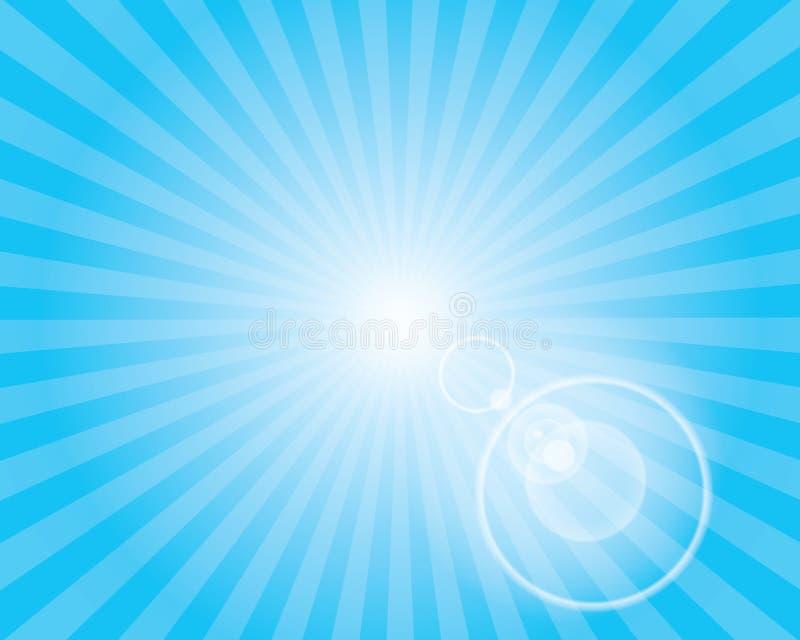 Słońca Sunburst wzór z obiektywu racą. Niebieskie niebo. ilustracji