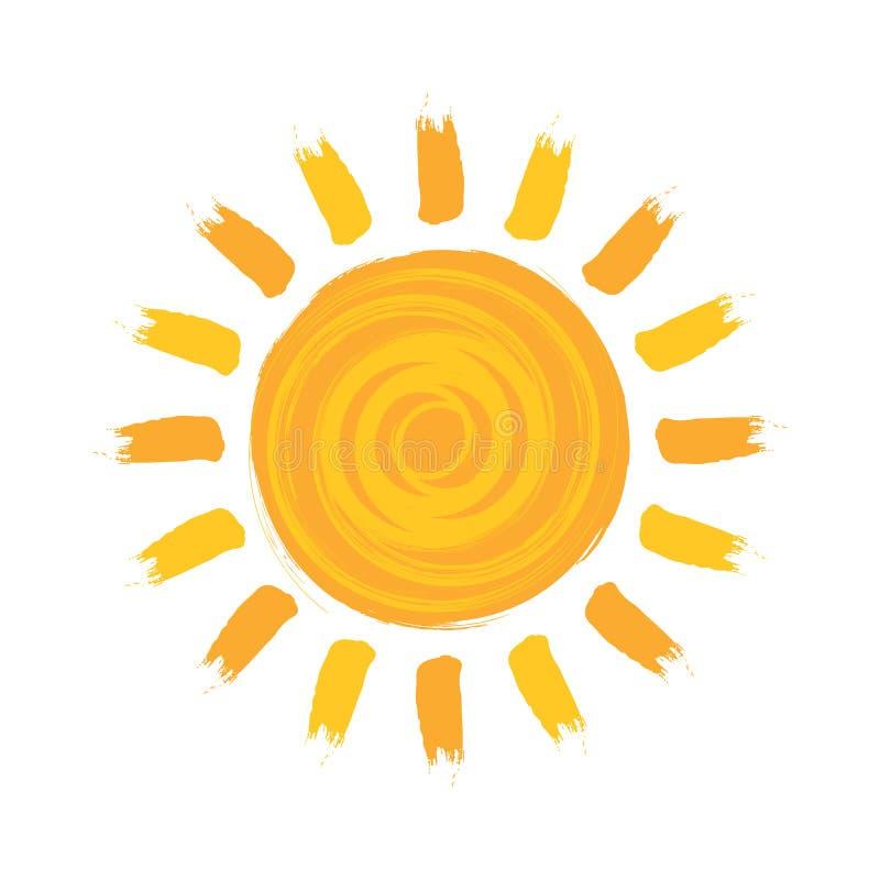 Słońce akwareli ilustracji jaśnienie Odizolowywający Szczotkarski wektor ilustracja wektor