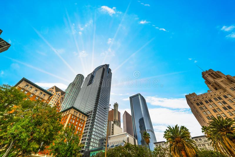 Słońce błyszczy nad w centrum Los Angeles zdjęcie royalty free