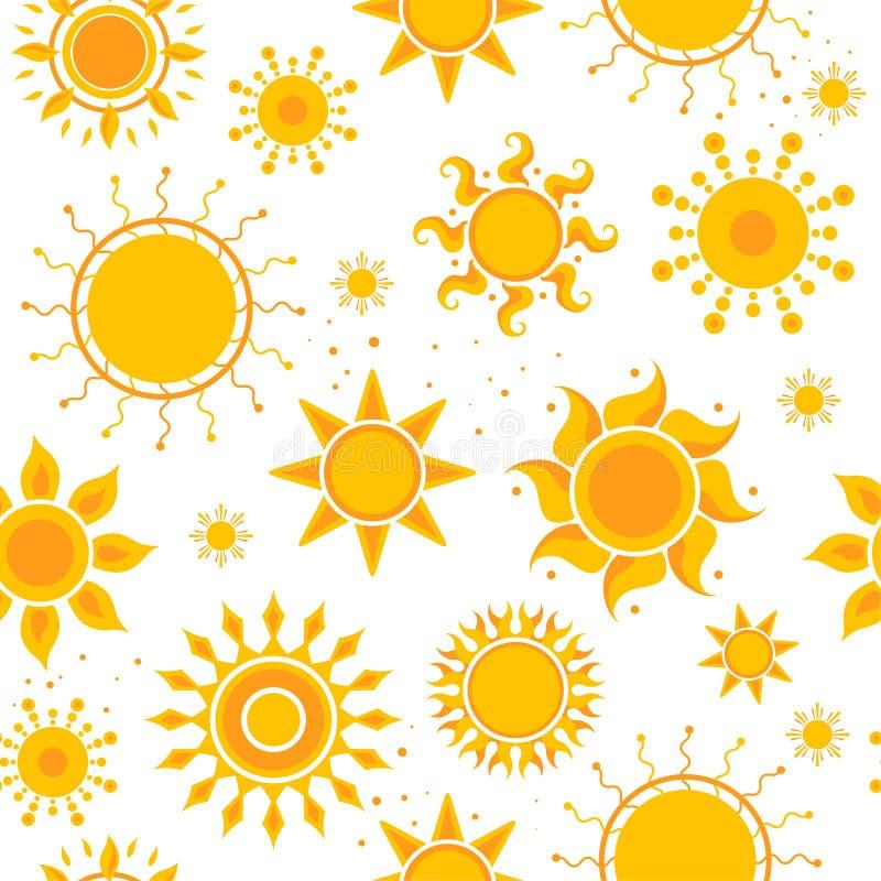 Słońce bezszwowi obrazki Pogodowego lata światła słonecznego obrazków tekstylnego projekta wektorowy gorący wzór ilustracji