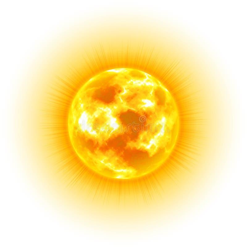 Słońce, biały tło, nadziemski ciało, kreskówka, realistyczna ilustracji