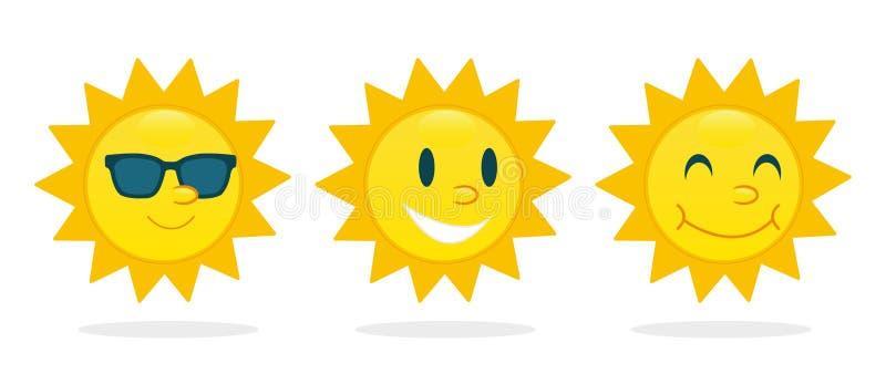 Słońce charakteru ustalony wektor royalty ilustracja