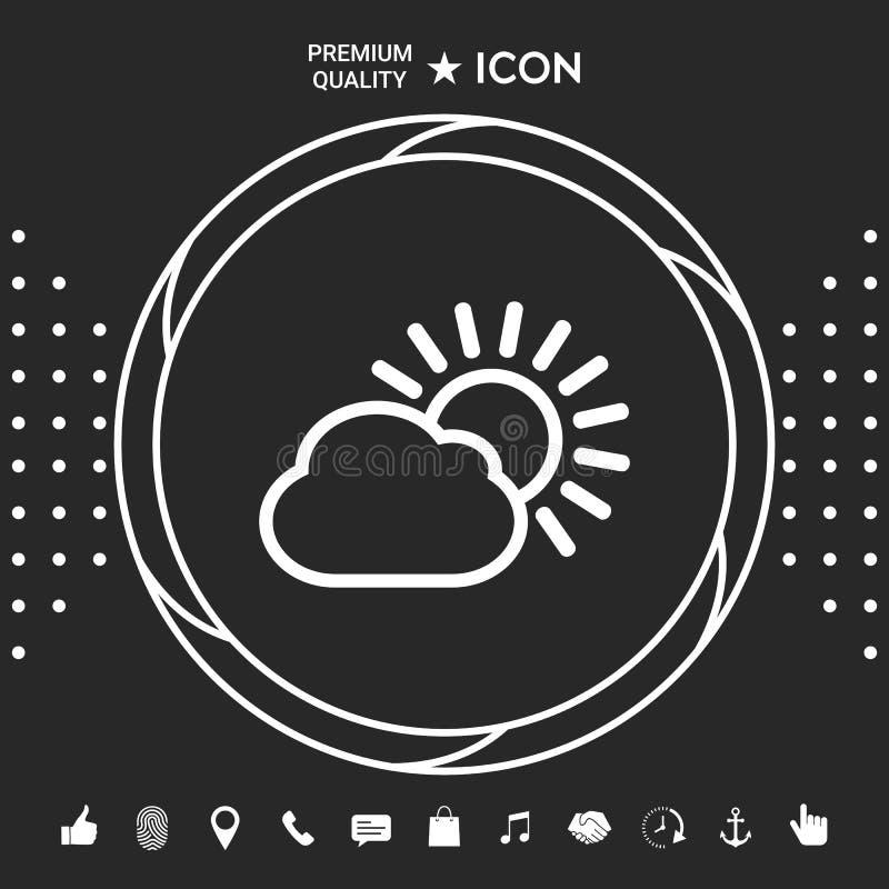 Słońce chmury linii ikona Graficzni elementy dla twój designt ilustracji