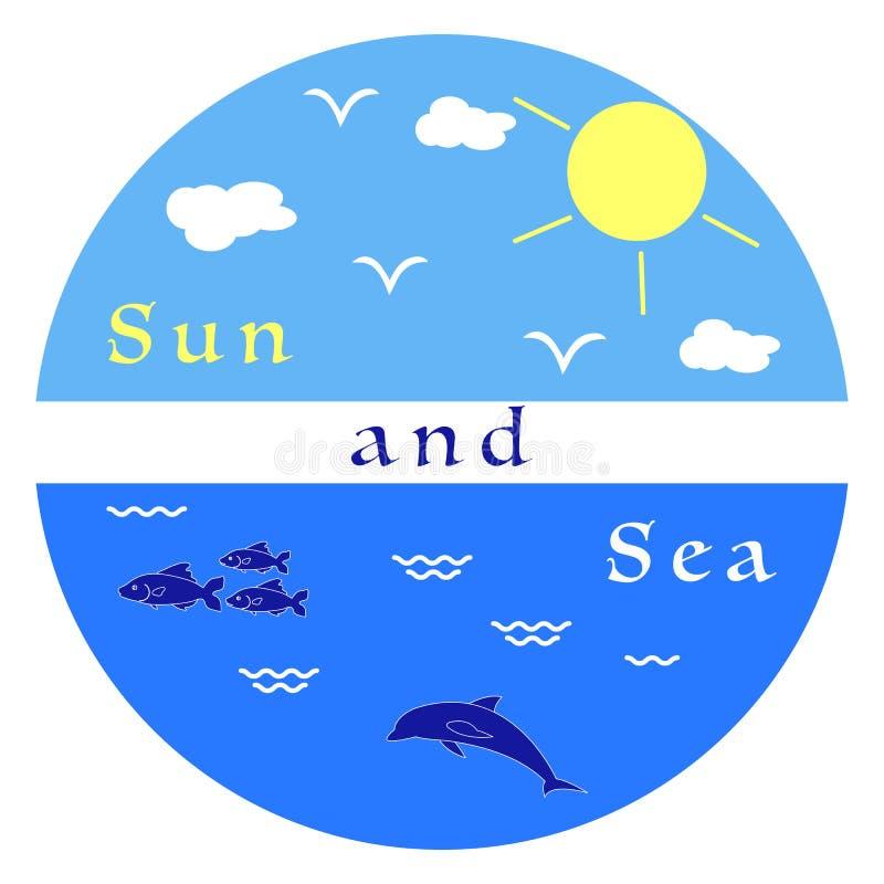 Słońce, chmury, ptaki, delfin, morze, fala, ryba royalty ilustracja