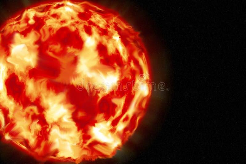 Słońce czerwony gigant główny źródło energii na ziemi ilustracji