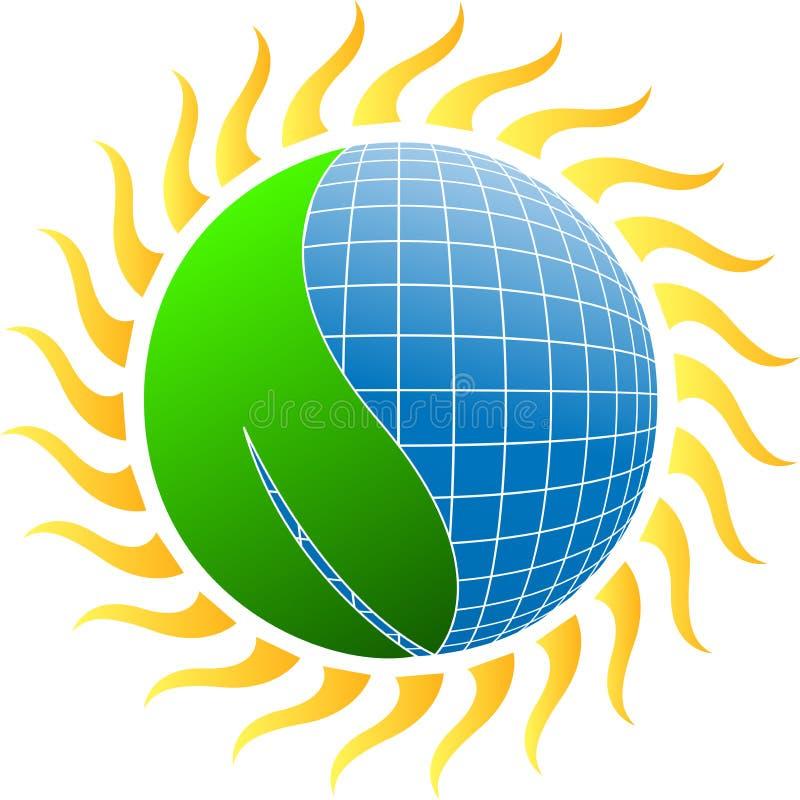 Słońce energia z liściem ilustracji