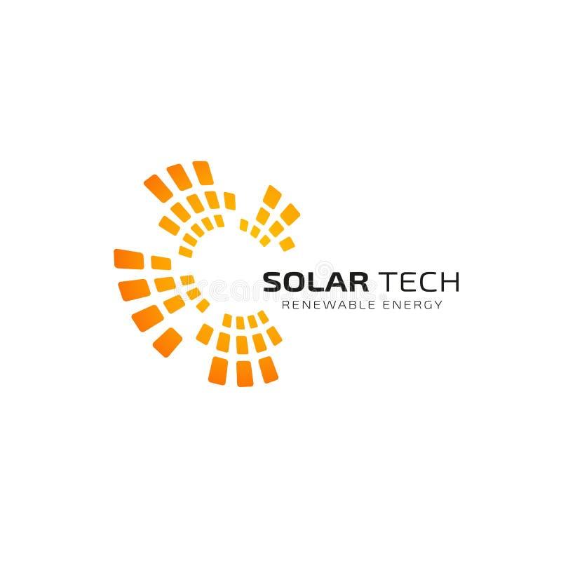 Słońce energii słonecznej logo projekta szablon słoneczny technika logo projekt ilustracja wektor