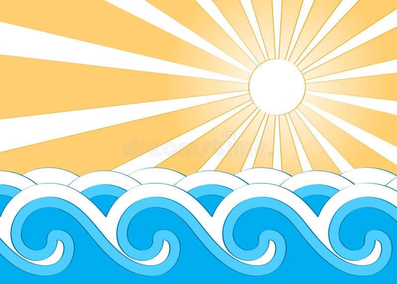 słońce fala ilustracji