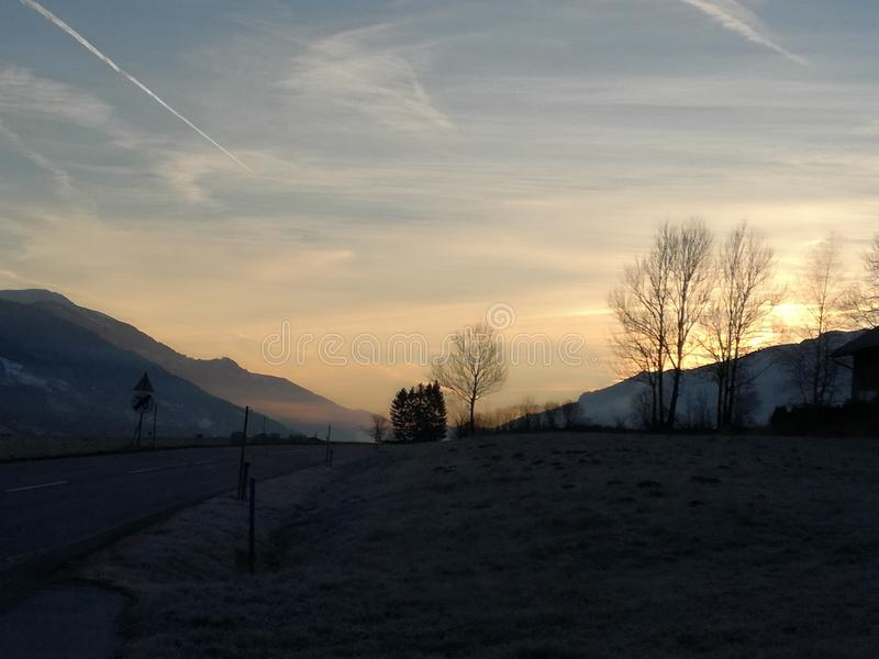 Słońce gór ranku słońce Landschaft fotografia royalty free