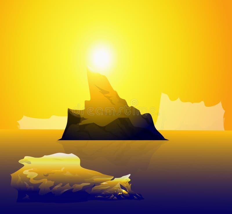 Słońce & góra lodowa ilustracja wektor