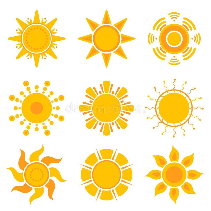 Słońce grafika Lata światła słonecznego pogodowych symboli/lów wektorowa żółta kolekcja ilustracja wektor