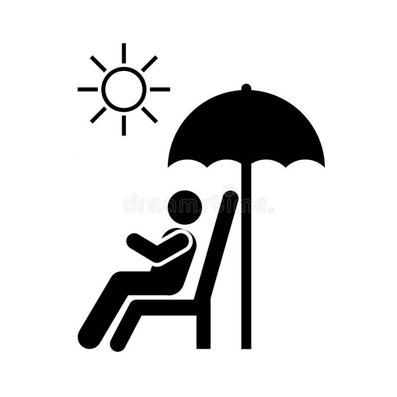 Słońce, hotel, plaża, mężczyzna ikona Element hotelowa piktogram ikona Premii ilo?ci graficznego projekta ikona znaki i symbole i ilustracja wektor