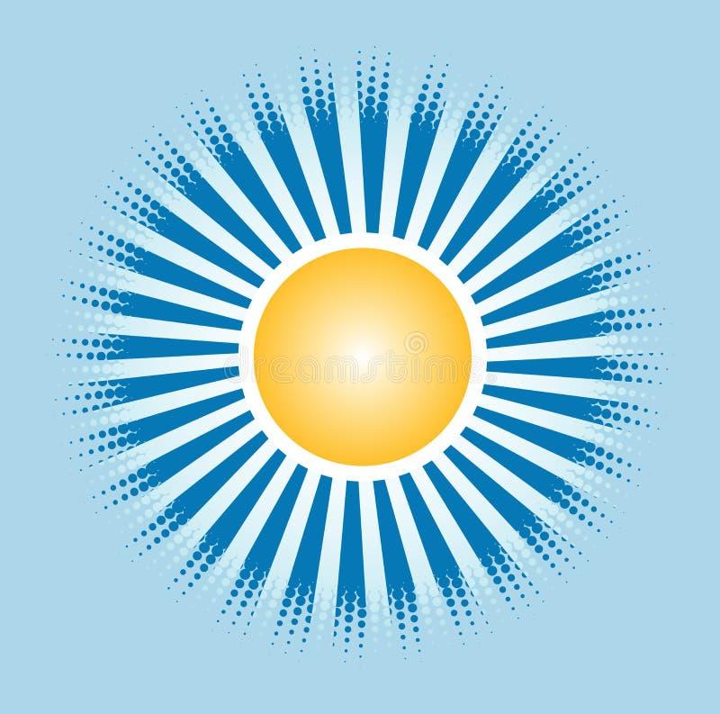 Słońce i błękitny połysk w niebie royalty ilustracja