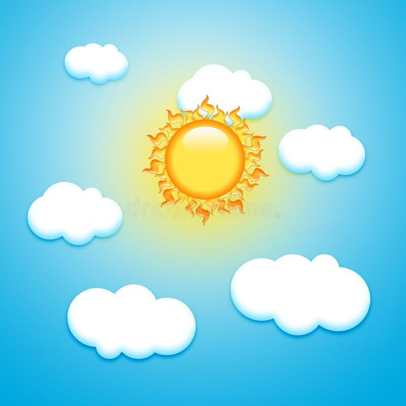 Słońce I Chmury ilustracji