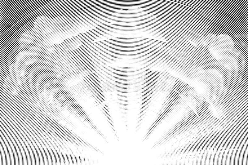 Słońce i chmury Woodcut ilustracja wektor