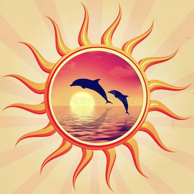 Słońce i delfiny ilustracji
