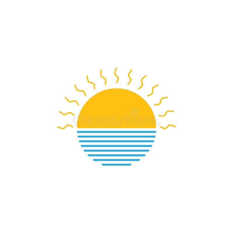 Słońce i denny zawijasa logo wektor ilustracja wektor