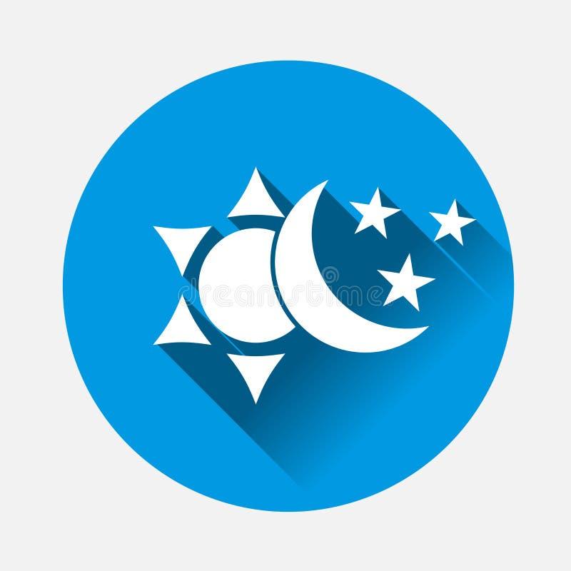 Słońce i księżyc z gwiazdy ikoną Symbol zmiana royalty ilustracja