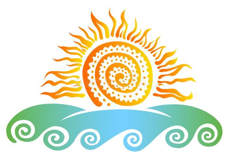 Słońce i morze ilustracji
