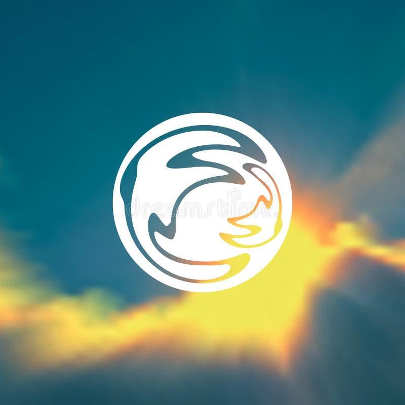 Słońce i odbija w nim wodne czochry ilustracji