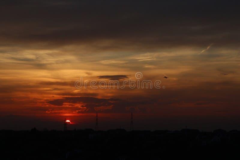 Słońce i samolot obraz stock