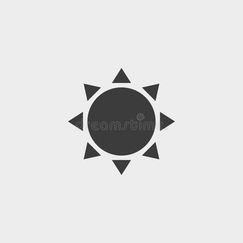 Słońce ikona w czarnym kolorze Wektorowa ilustracja EPS10 ilustracji