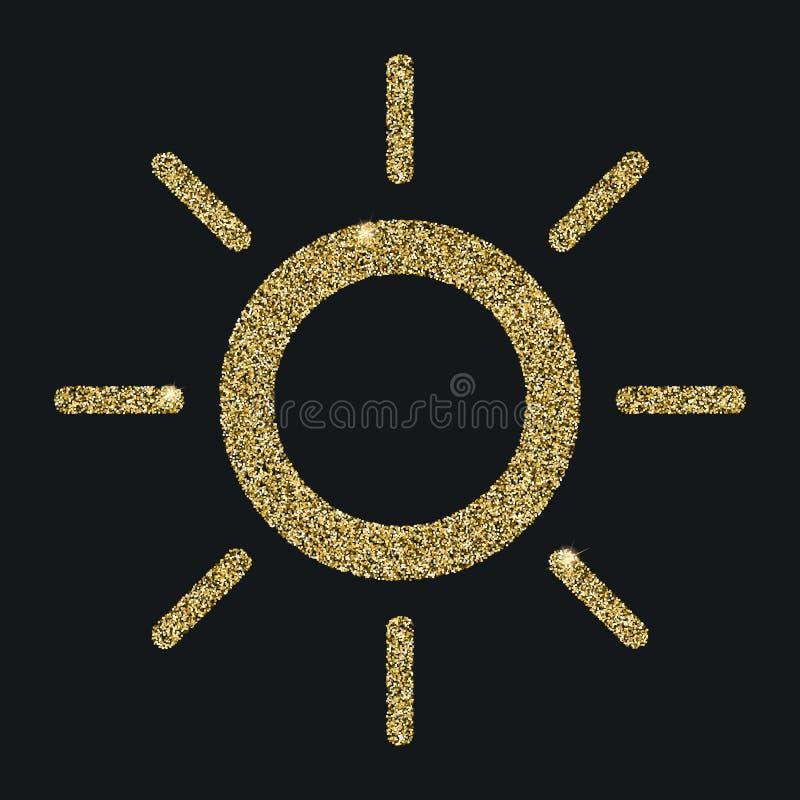 Słońce ikona z błyskotliwość skutkiem na czarnym tle, odosobnionym Kontur ikona, wektorowy piktogram Symbol od złotych cząsteczek ilustracja wektor