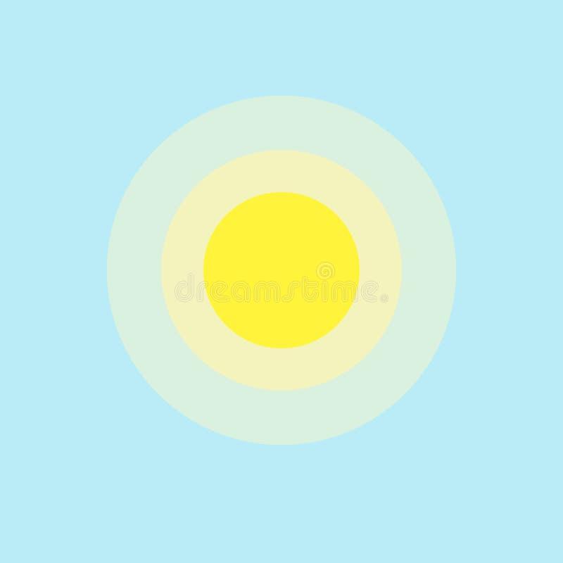 Słońce ikony elementu prosty app Odizolowywający symbol na błękitnej tło ikony gorącej pogody projekta pogodnym ciepłym Płaskim e ilustracja wektor