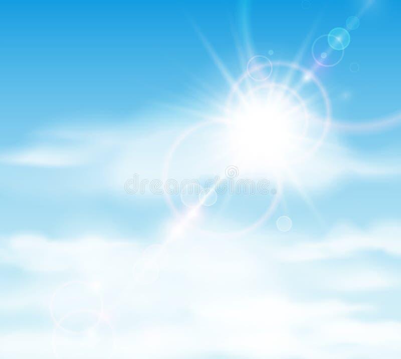 Słońce jest błyszczy za chmurami royalty ilustracja