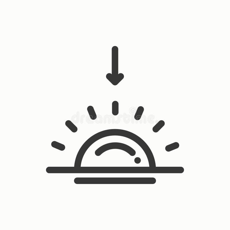 Słońce kreskowa prosta ikona Pogodowi symbole Wschód słońca, zmierzch Prognoza projekta element Szablon dla wiszącej ozdoby app,  royalty ilustracja