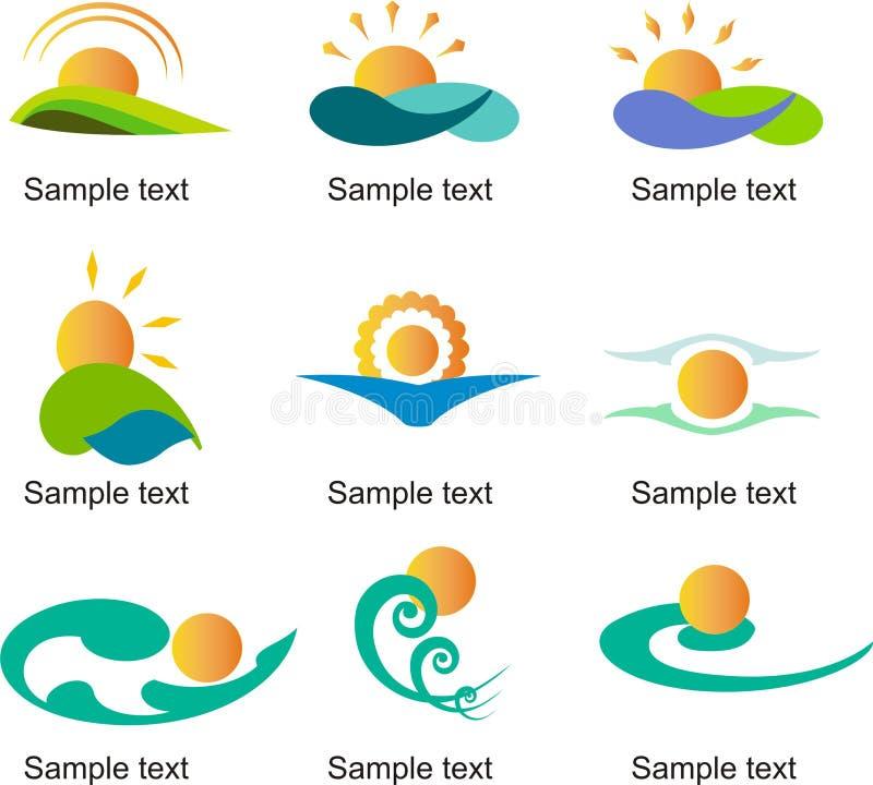 Słońce loga szablonu wektorowy set ilustracja wektor