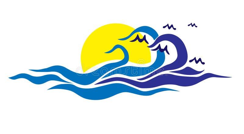 Słońce logo w morzu z morze fala lata loga na białym tle ptakami i ilustracji