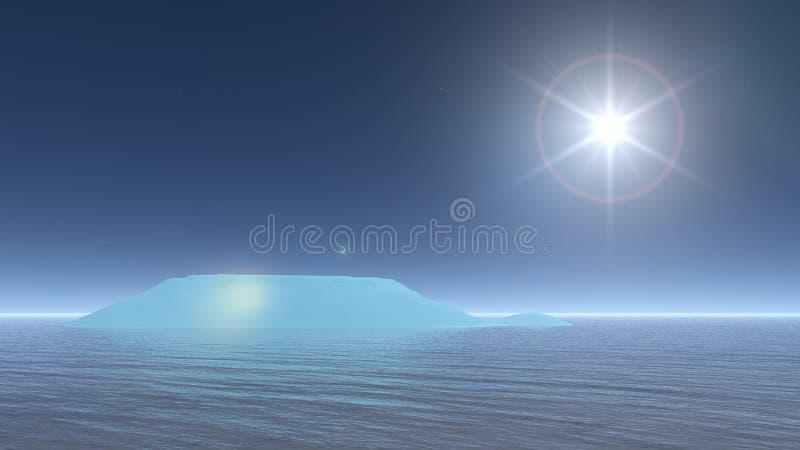 Słońce na górę lodowa - 3D odpłacają się ilustracja wektor