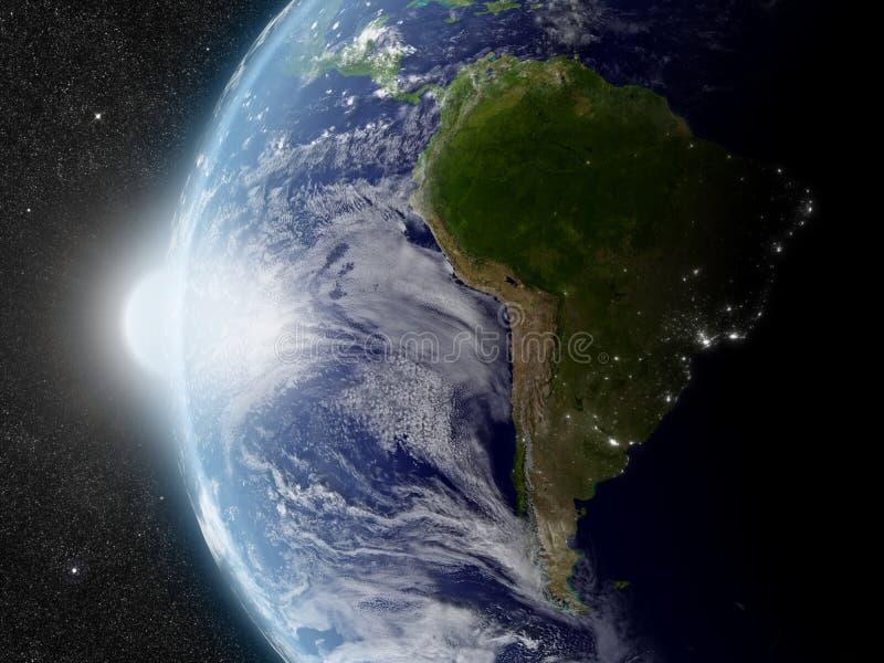 Słońce nad Ameryka Południowa ilustracji