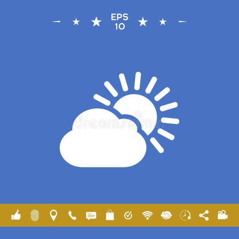 Słońce obłoczna ikona ilustracji
