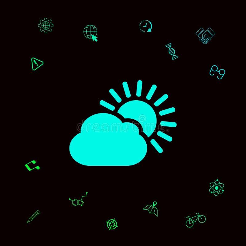 Słońce obłoczna ikona Graficzni elementy dla twój designt royalty ilustracja