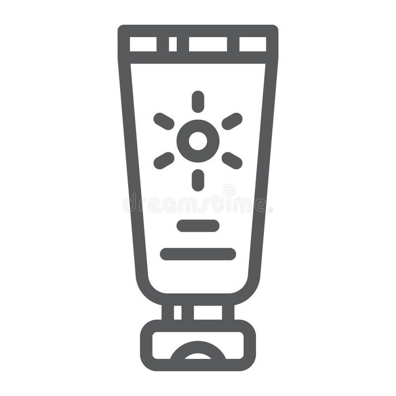 Słońce ochrony linii ikona, śmietanka i kosmetyk, sunscreen znak, wektorowe grafika, liniowy wzór na białym tle ilustracja wektor