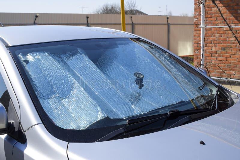 Słońce odbłyśnika windscreen Ochrona samochodowy panel od direc obrazy stock